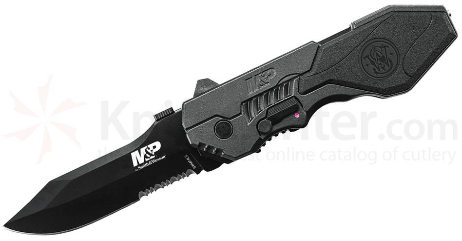 Smith & Wesson M&P MAGIC Assisted 3.6 inch Combo Blade, Black Handle, Window Breaker
