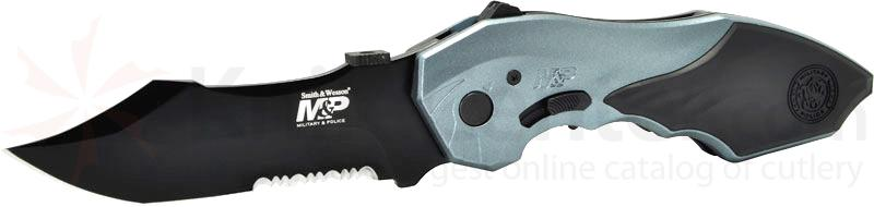 Smith & Wesson M&P MAGIC MP5 Assisted 3.5 inch Combo Blade, Blue Handle, Window Breaker