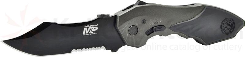 Smith & Wesson M&P MAGIC MP5 Assisted 3.5 inch Combo Blade, Black Handle, Window Breaker