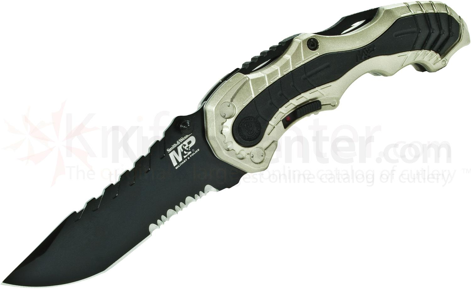 Smith & Wesson M&P MAGIC MP6 Assisted 3.4 inch Black Combo Blade, Champagne Aluminum Handles