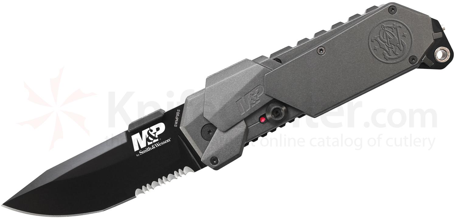 Smith & Wesson SWMP9BS M&P MAGIC Assisted 3.5 inch Black Combo Blade, Gray Aluminum Handles