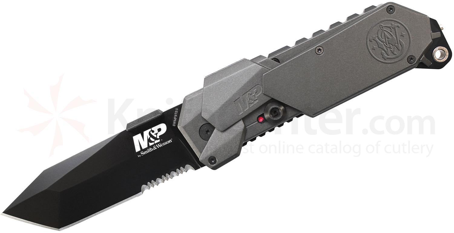 Smith & Wesson SWMP9BTS M&P MAGIC Assisted 3.5 inch Black Combo Tanto Blade, Gray Aluminum Handles