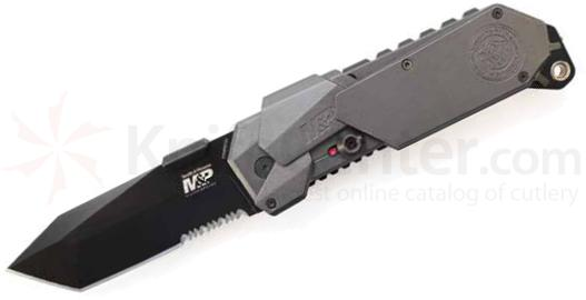 Smith & Wesson M&P MAGIC MP9BTS Assisted 3.5 inch Tanto Combo Blade, Grey Aluminum Handles