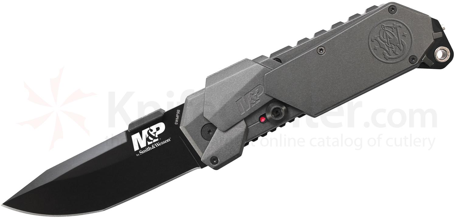Smith & Wesson SWMP9B M&P MAGIC Assisted 3.5 inch Plain Black Blade, Gray Aluminum Handles