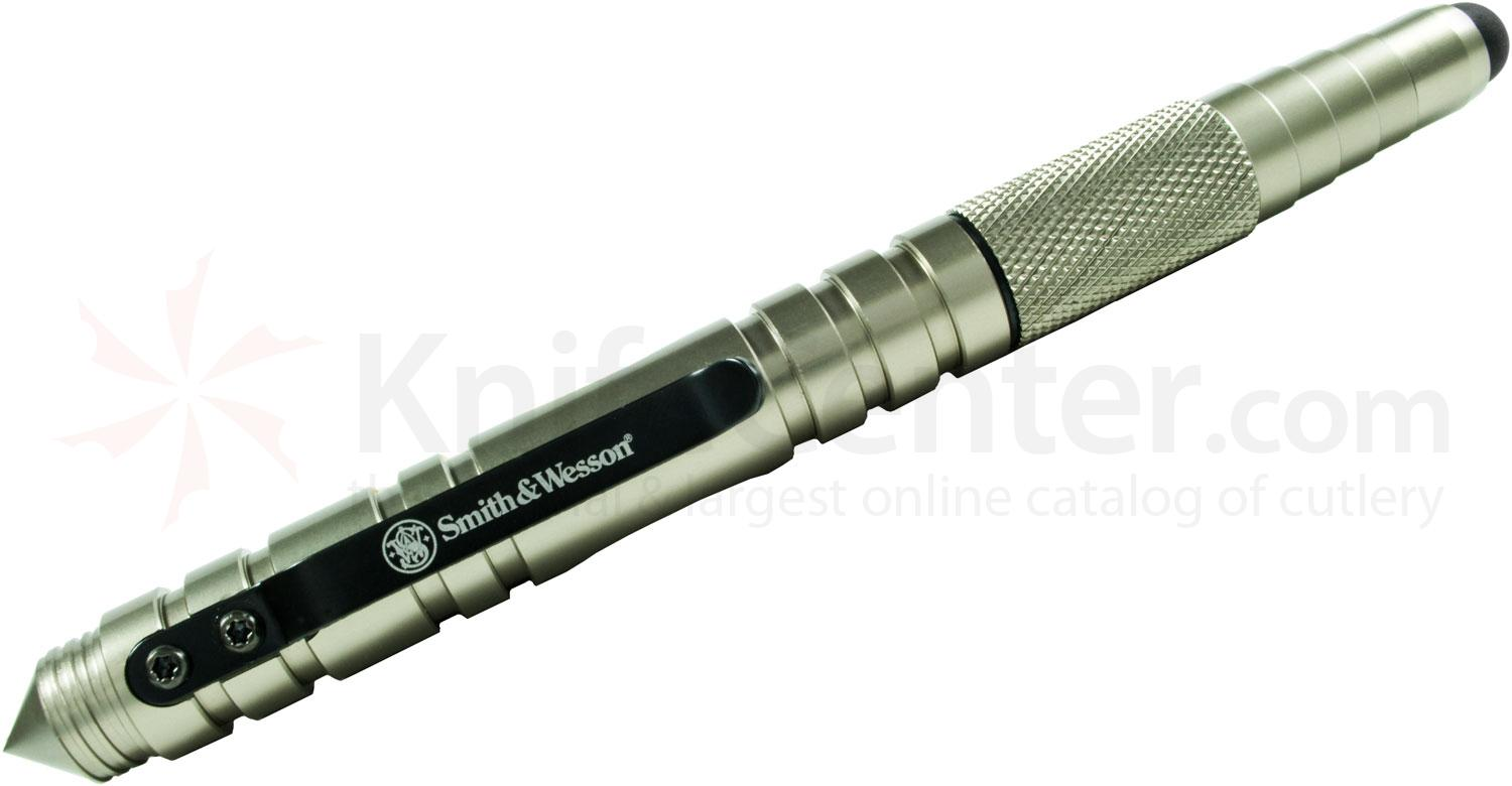 Smith & Wesson Tactical Pen and Stylus, Silver Aluminum Body
