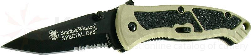 Smith & Wesson Special Ops (Small) 2.5 inch Assisted Tanto Combo Blade, Desert Handle