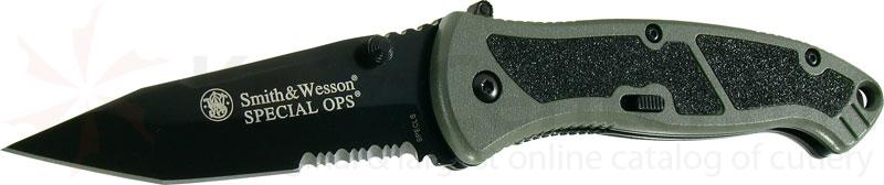 Smith & Wesson Special Ops (Large) 3.7 inch Assisted Tanto Combo Blade, Green Handle