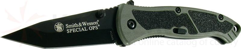 Smith & Wesson Special Ops (Medium) 3.1 inch Assisted Tanto Plain Blade, Green Handle