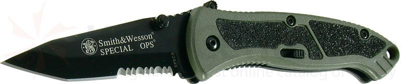 Smith & Wesson Special Ops (Small) 2.5 inch Assisted Tanto Combo Blade, Green Handle