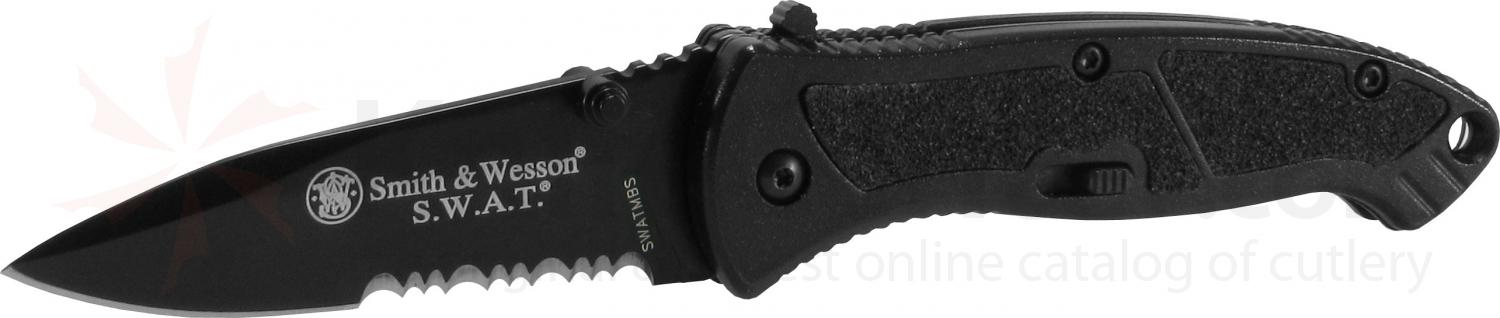 Smith & Wesson SWAT Assisted 3.15 inch Black Combo Blade, Aluminum Handles