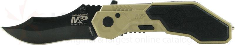 Smith & Wesson Military & Police MAGIC Assisted 2.9 inch Black Plain Drop Point Blade, Desert Handle