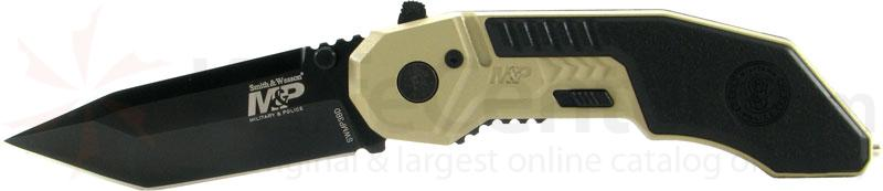 Smith & Wesson Military & Police MAGIC Assisted 2.9 inch Black Plain Tanto Blade, Desert Handle