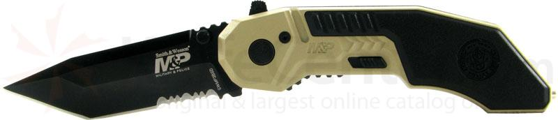 Smith & Wesson Military & Police MAGIC Assisted 2.9 inch Black Combo Tanto Blade, Desert Handle