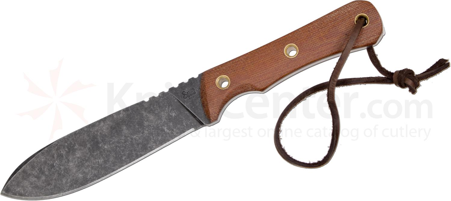 Smith & Sons Tataille Fixed 5.125 inch D2 Darkened Stonewash Blade, Natural Micarta Handles, Leather Sheath