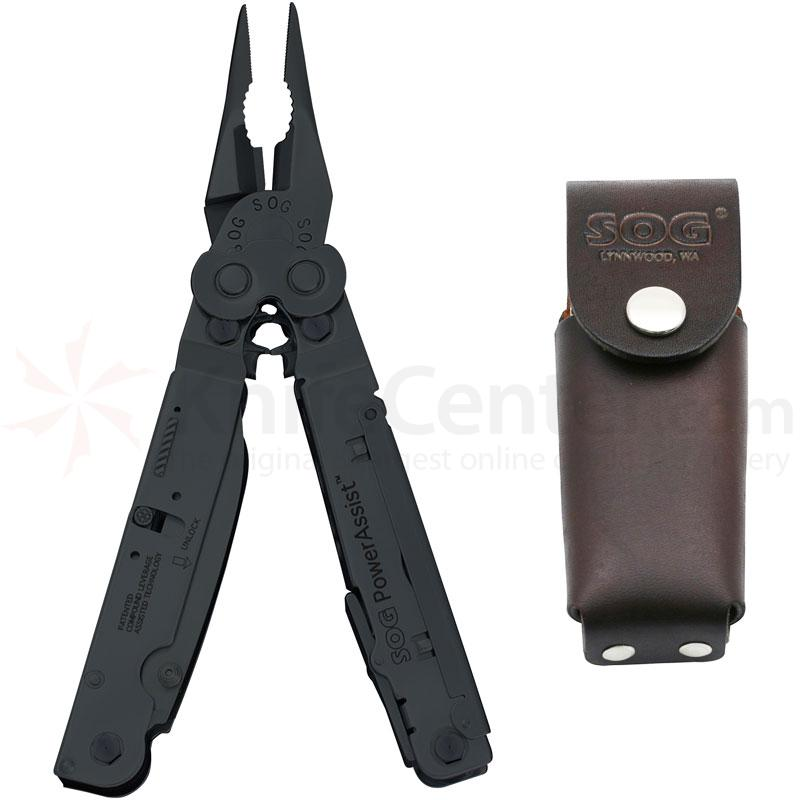 SOG PowerAssist Black Oxide Finish Multi-Tool with Leather Sheath Assisted Opening Blades