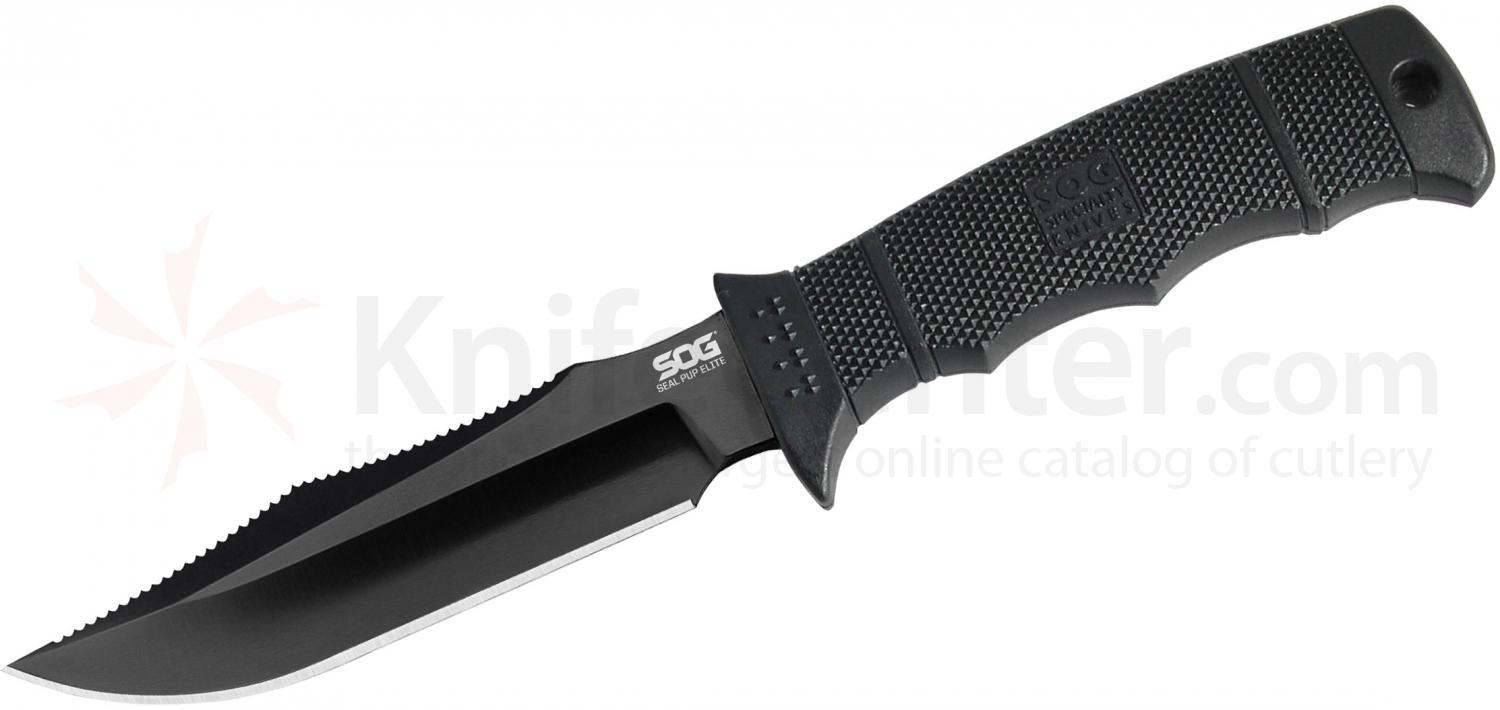 SOG E37SK SEAL Pup Elite Fixed 4.85 inch Black Tini Plain Blade, GRN Handle, Kydex Sheath