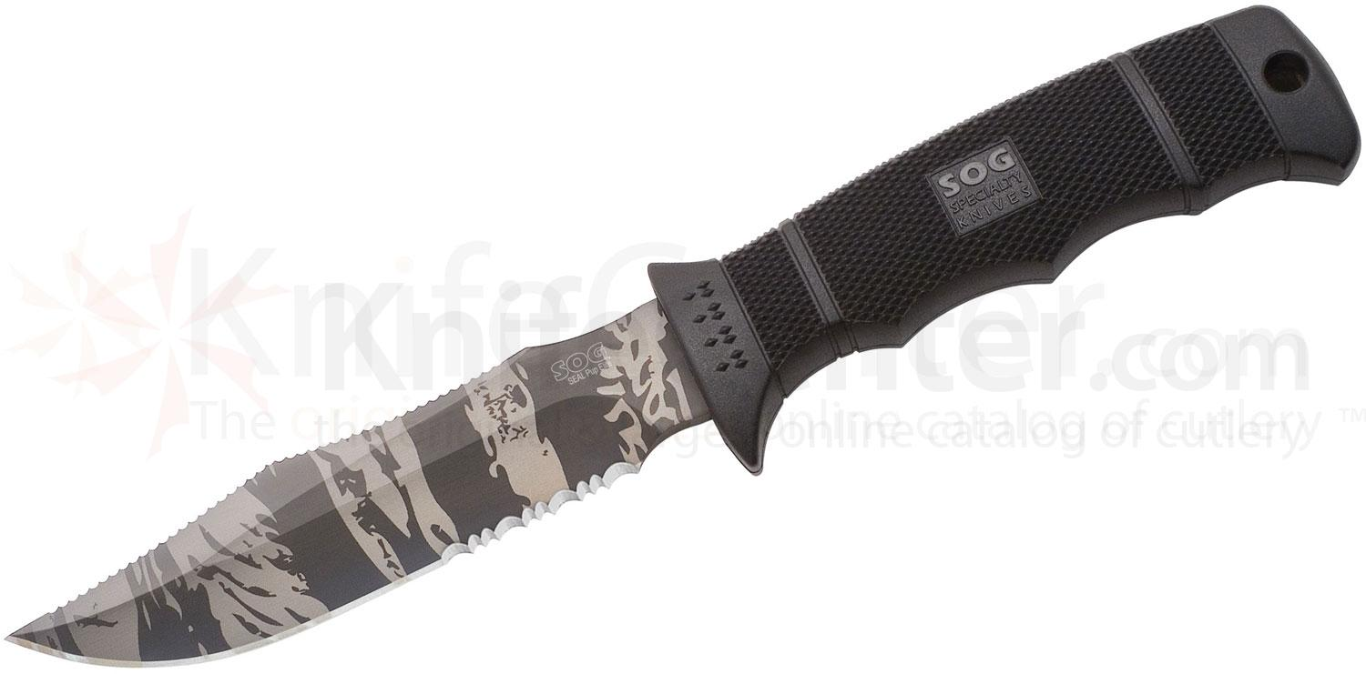 SOG SEAL Pup Elite 4.85 inch TigerStripe Black TiNi Combo Edge Blade with Nylon Sheath