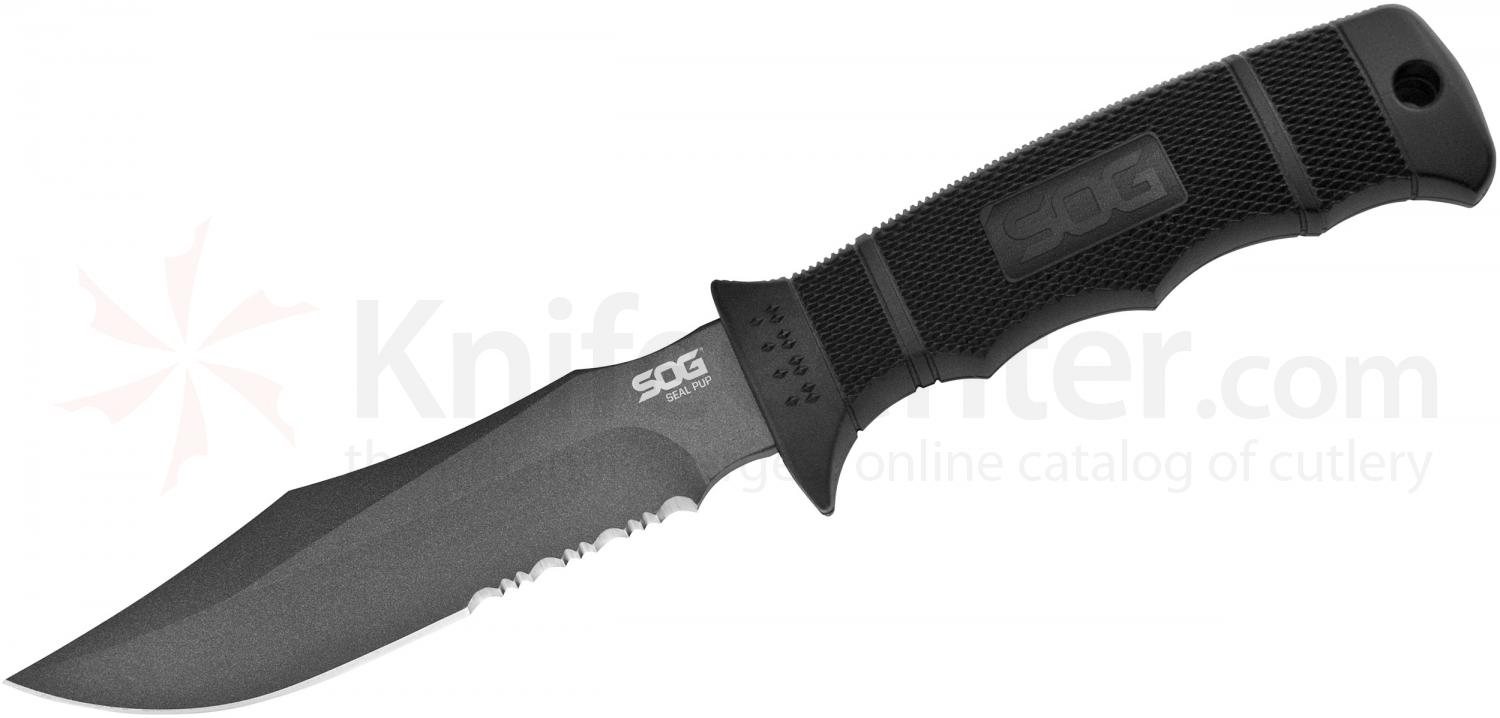 SOG M37K SEAL Pup Fixed 4.75 inch Powder Coated Combo Blade, GRN Handles, Kydex Sheath
