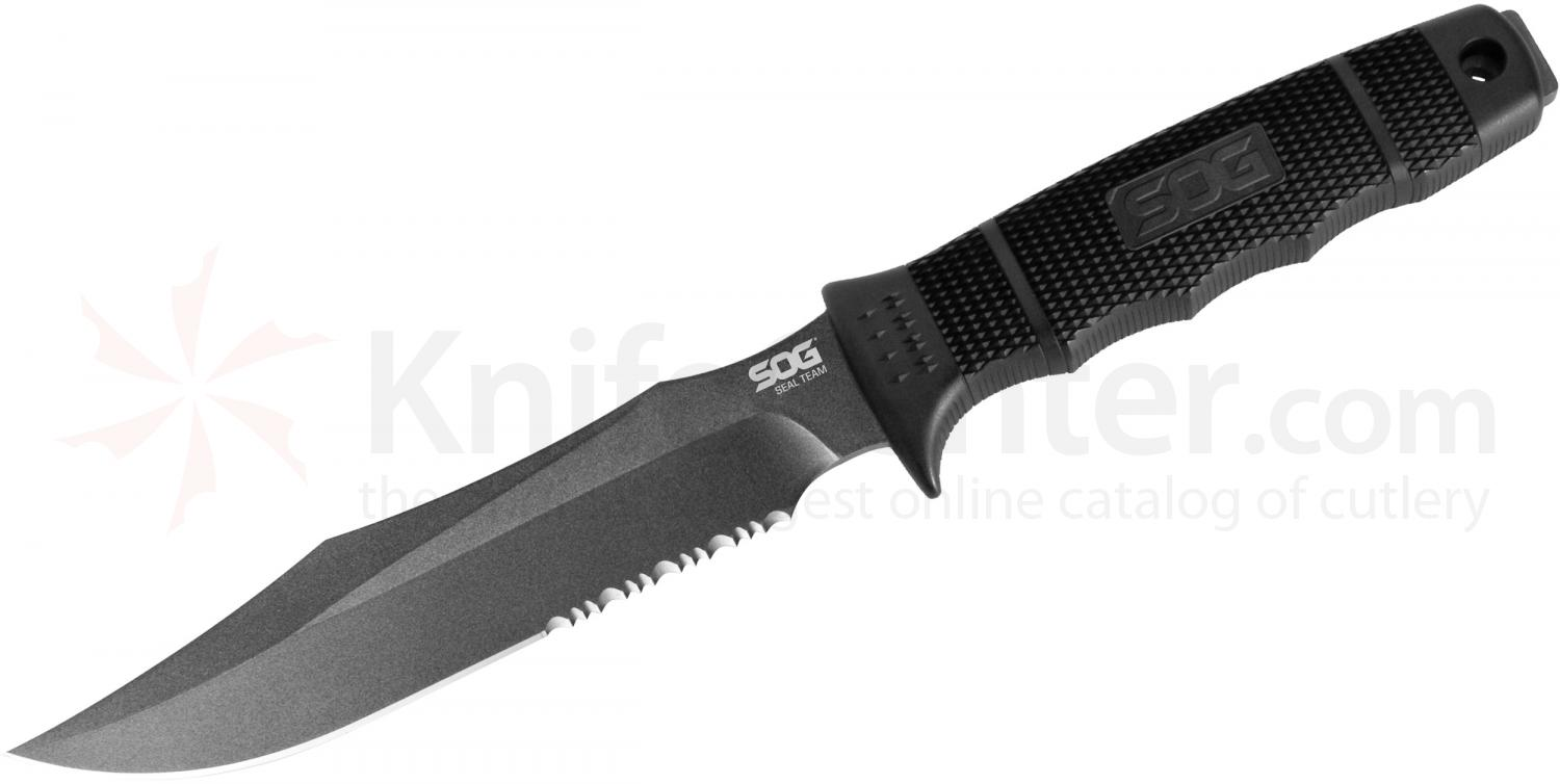 SOG S37K SEAL Team Fixed 7 inch Black Combo Blade, GRN Handle, Nylon Sheath