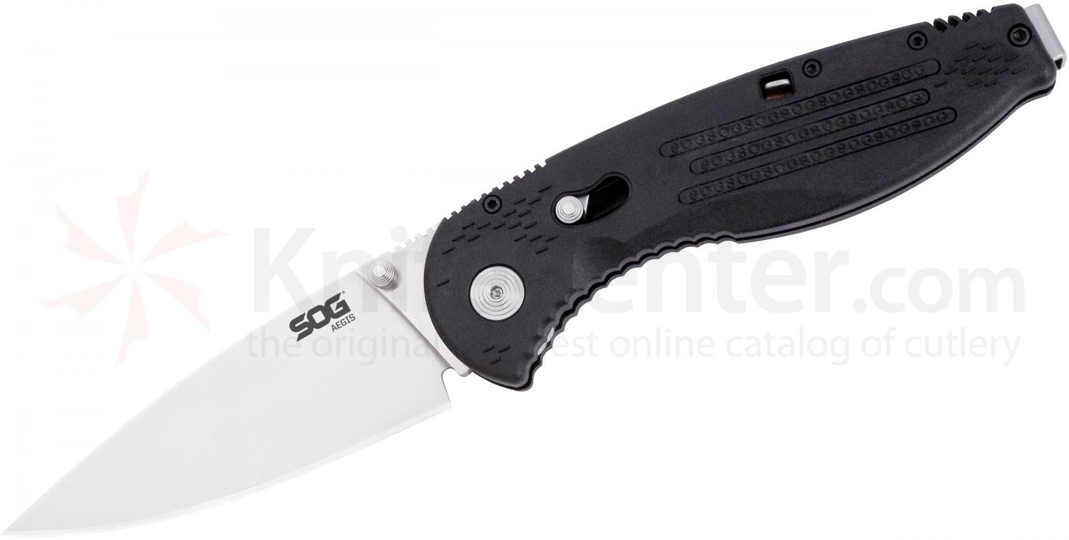 SOG AE01 Aegis Folding Knife Assisted 3.5 inch Satin Plain Blade, Black FRN Handles