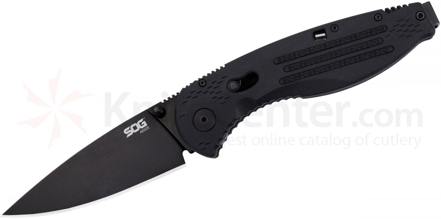 SOG AE02 Aegis Folding Knife Assisted 3.5 inch Black TiNi Plain Blade, Black GRN Handles