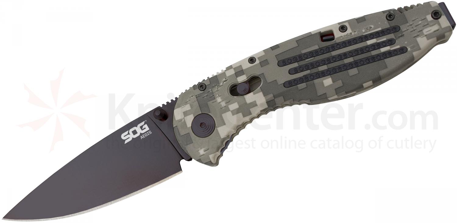 SOG AE06 Aegis Folding Knife Assisted 3.5 inch Black TiNi Plain Blade, Digi Camo GRN Handles