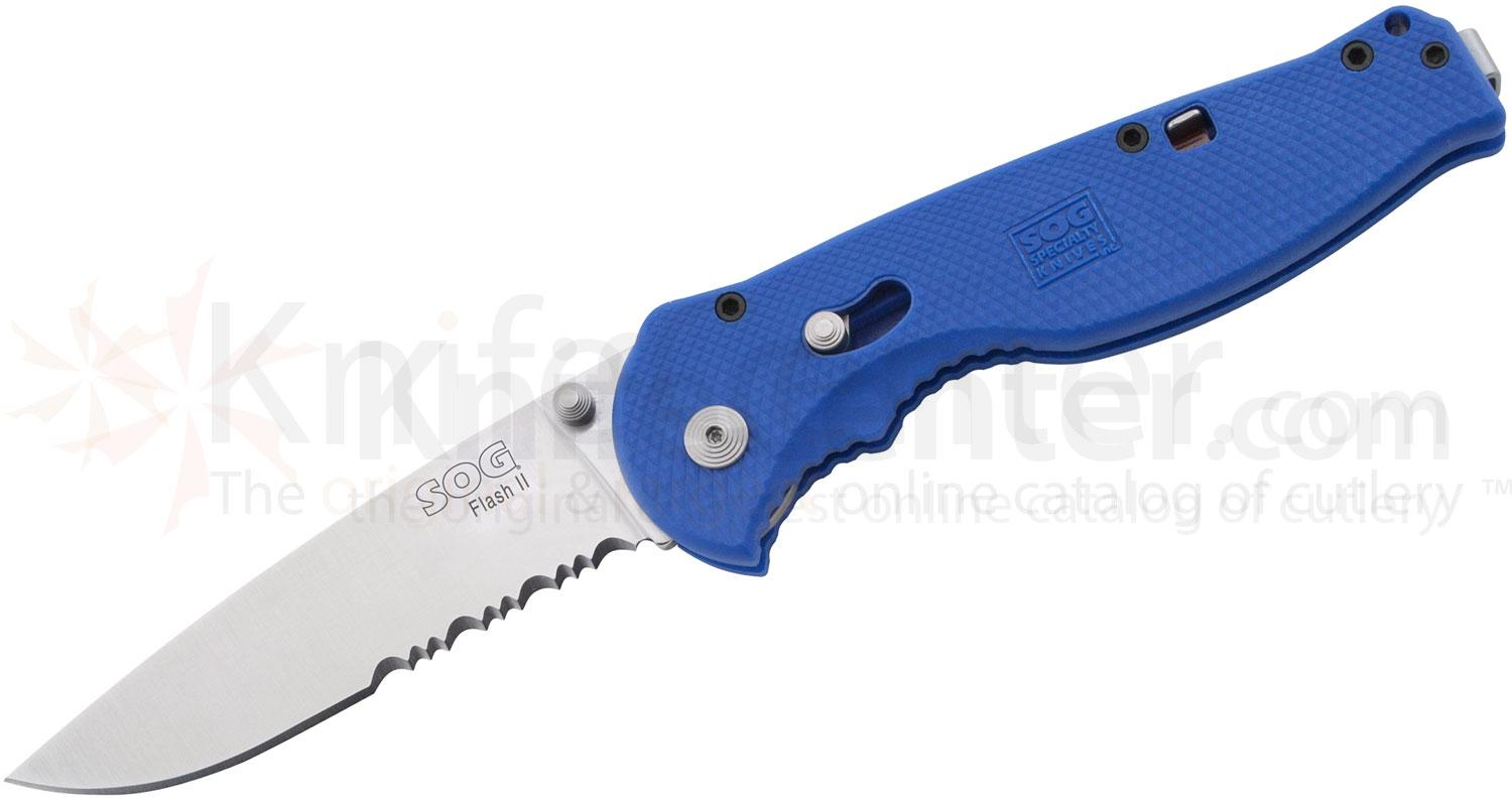 SOG Flash II Folding Knife Assisted 3.5 inch Satin Combo Blade, Blue Zytel Handles