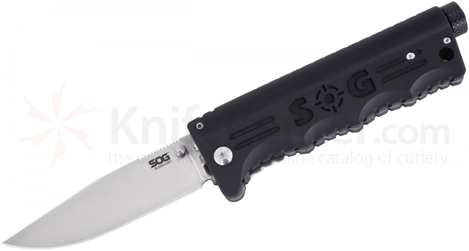 SOG BLT52N Green BladeLight Folding 3.9 inch Satin Plain Blade, Black Nylon Handles, 35 Max Lumens