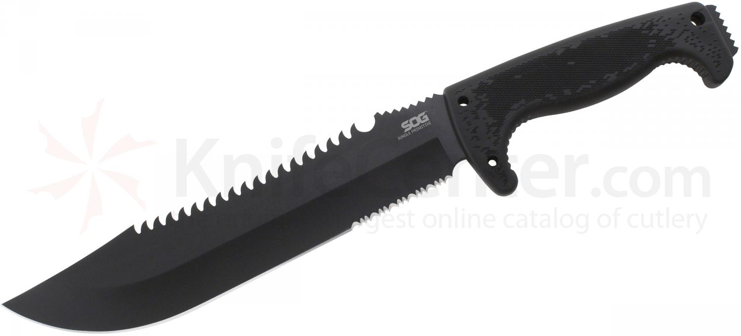 SOG F03T Jungle Primitive Fixed 9.5 inch Black Sawback Blade, Kraton Handles, Nylon Sheath
