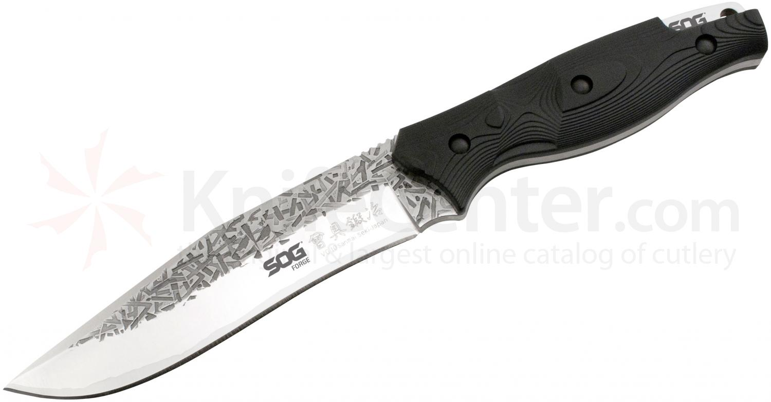 SOG Forge Fixed 6 inch San Mai VG-10 Blade, Sculpted Zytel Handle, Leather Sheath