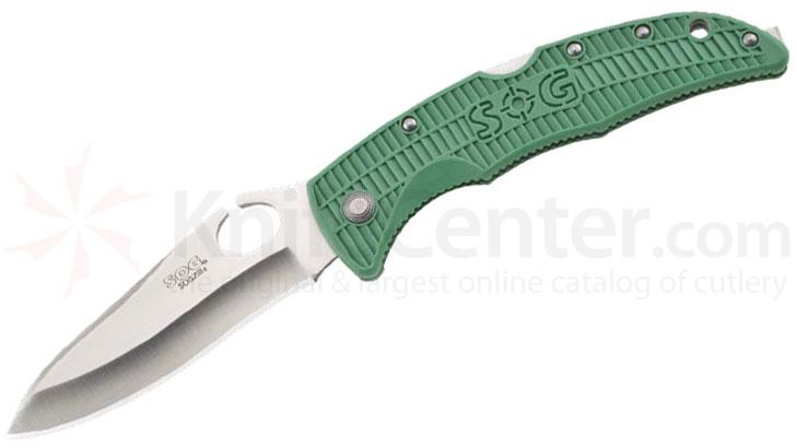 SOG SOGzilla (Large) Folding Knife 3.8 inch Satin Plain Blade, Green FRN Handles