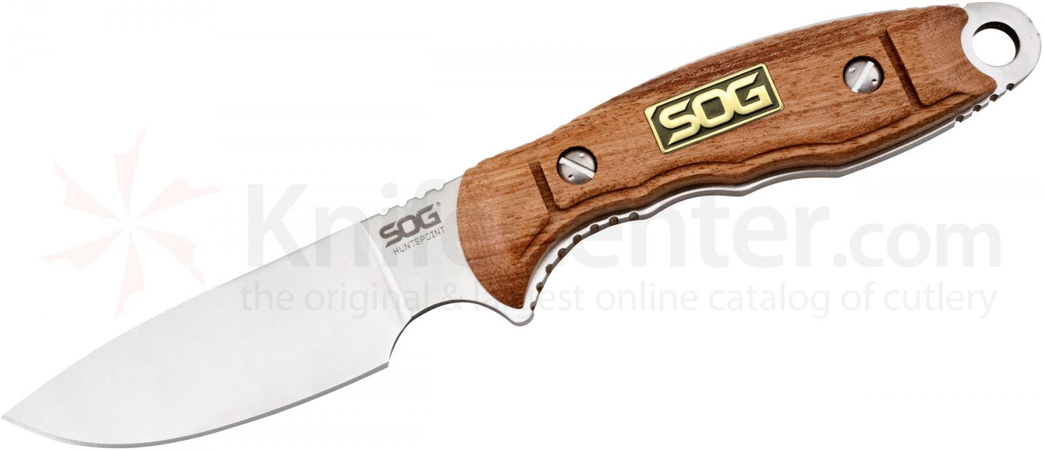 SOG HT013L HuntsPoint Skinning Fixed 3.6 inch Satin S30V Plain Blade, Rosewood Handles, Leather Sheath