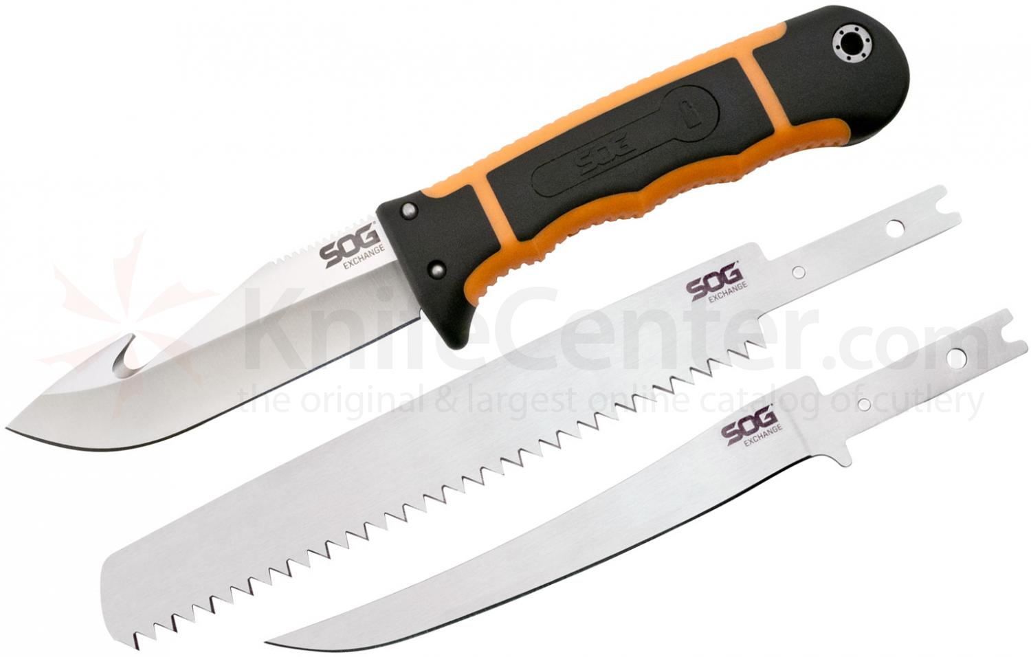 SOG HT201N HuntsPoint Exchange Fixed 4.3 inch Gut Hook, Fillet & Saw Blades, Zytel Handles, Nylon Sheath