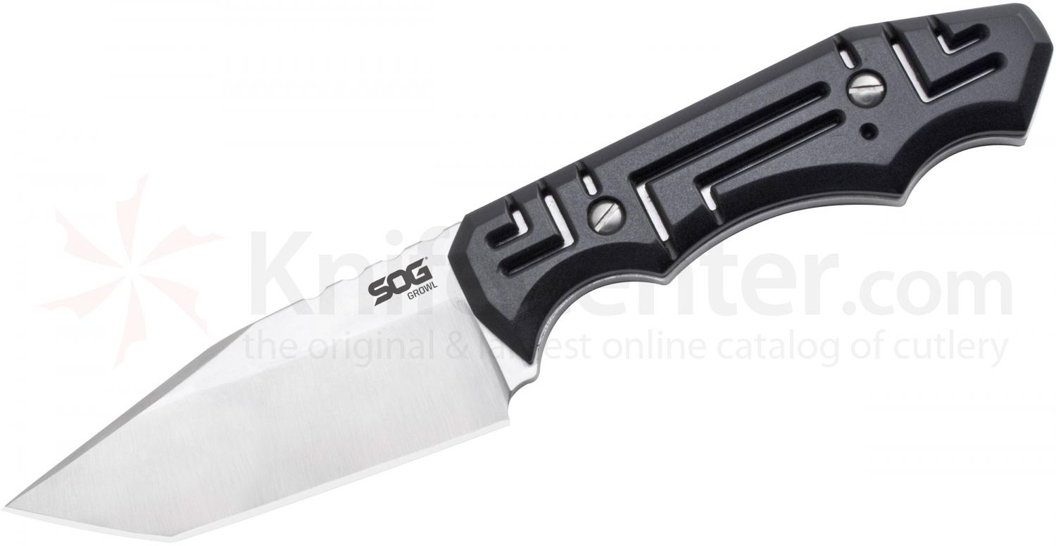 SOG JB02 Jason Brous Growl Fixed 3.6 inch Satin Tanto Blade, Molded Nylon Sheath