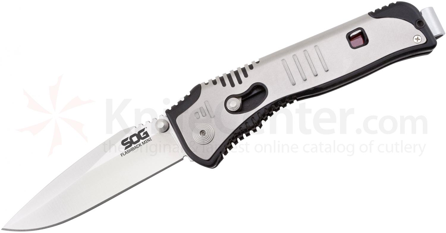 SOG Mini Flashback Assisted 3 inch Satin Plain Blade, GRN and Stainless Steel Handles (SAT101)