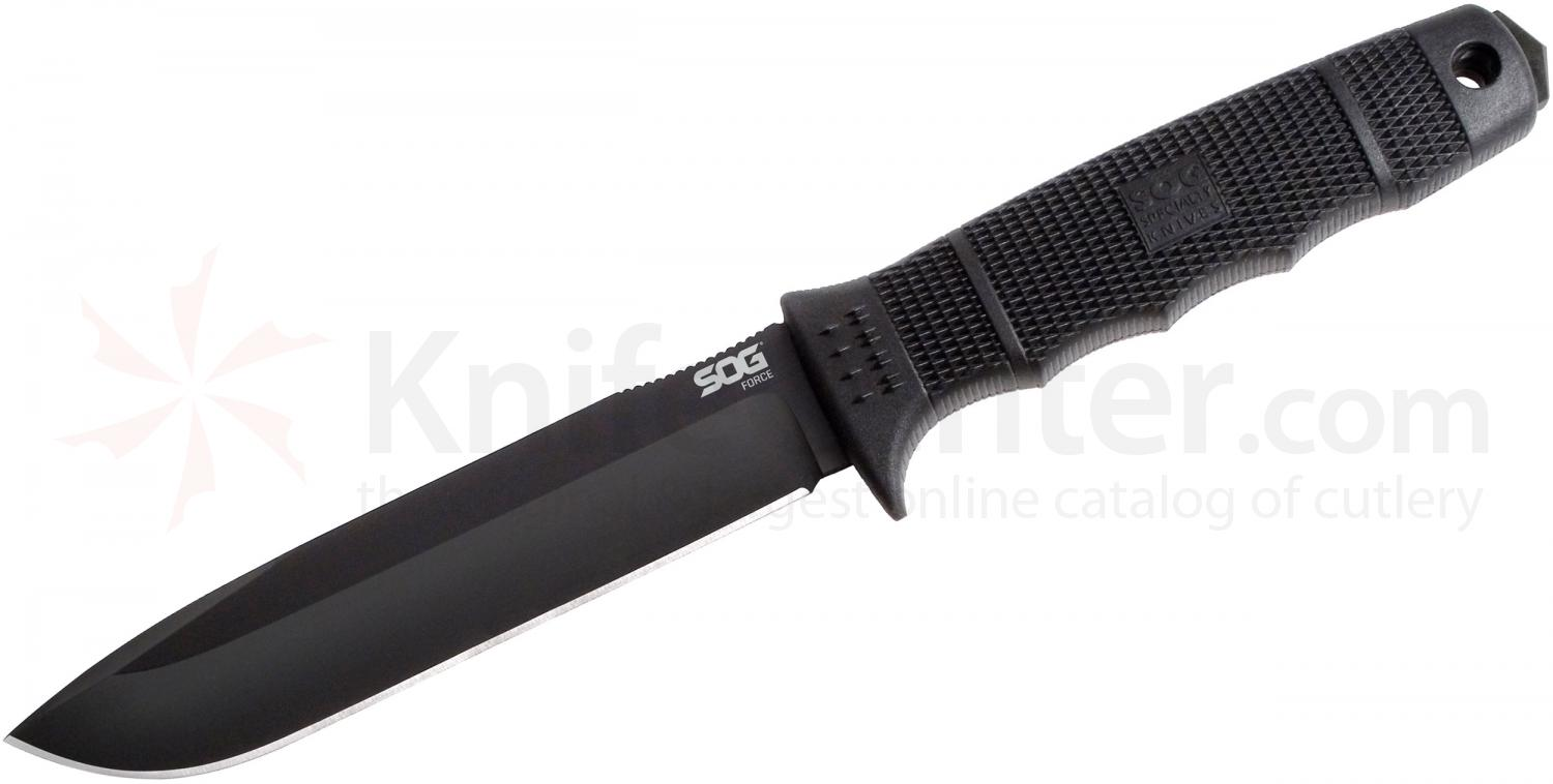 SOG SE38N Force Fixed 6 inch Plain AUS-8 Black TiNi Blade, GRN Handles, Nylon Sheath