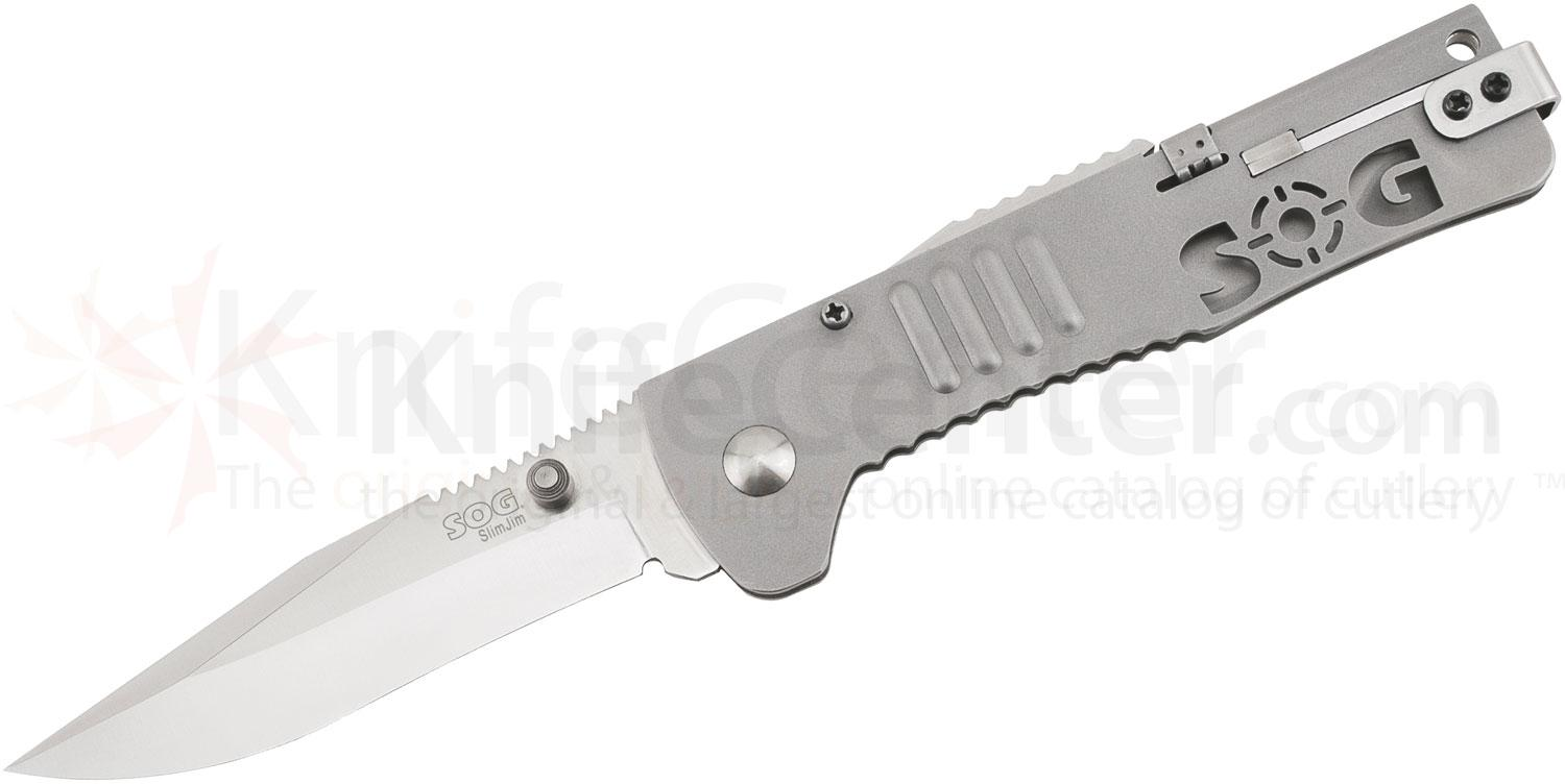 SOG SJ-31 SlimJim Folding Knife Assisted 3.18 inch Satin Plain Blade, Bead Blast Handles