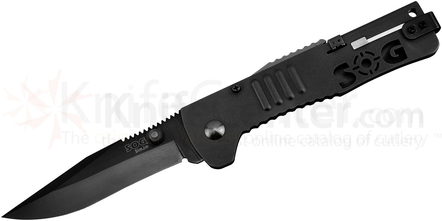 SOG SJ-32 SlimJim Folding Knife Assisted 3.18 inch Black Plain Blade, Black Handles