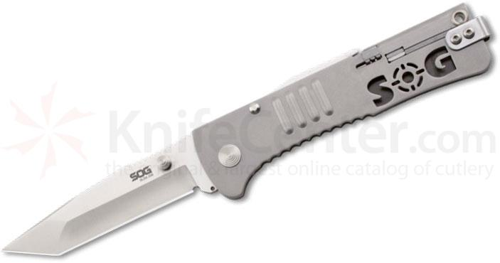 SOG SJ-33 SlimJim Tanto Assisted Folding 3.18 inch Satin Plain Blade, Bead Blast Handles