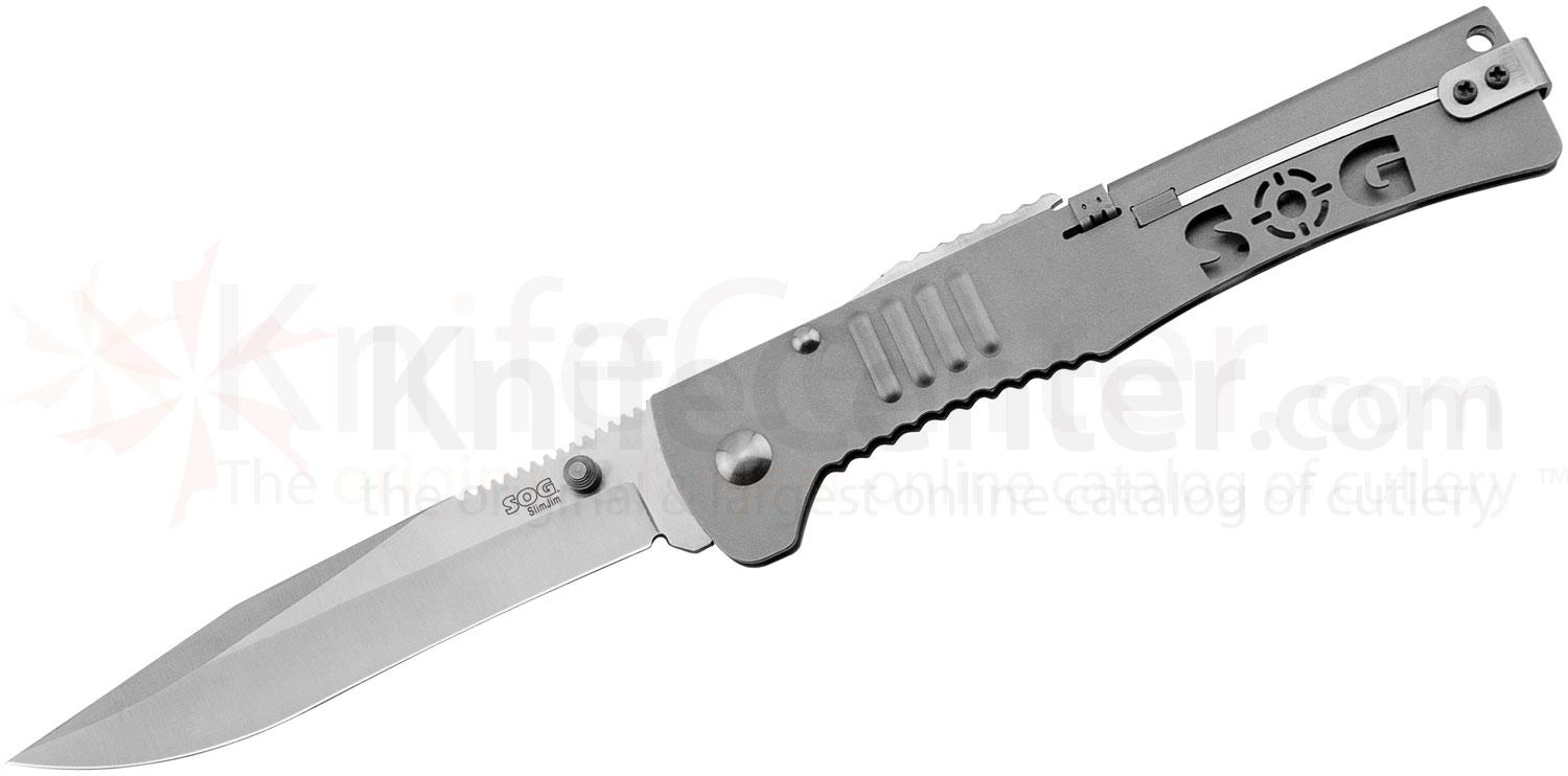 SOG SJ-51 SlimJim XL Folding Knife Assisted 4.18 inch Satin Plain Blade, Bead Blast Handles