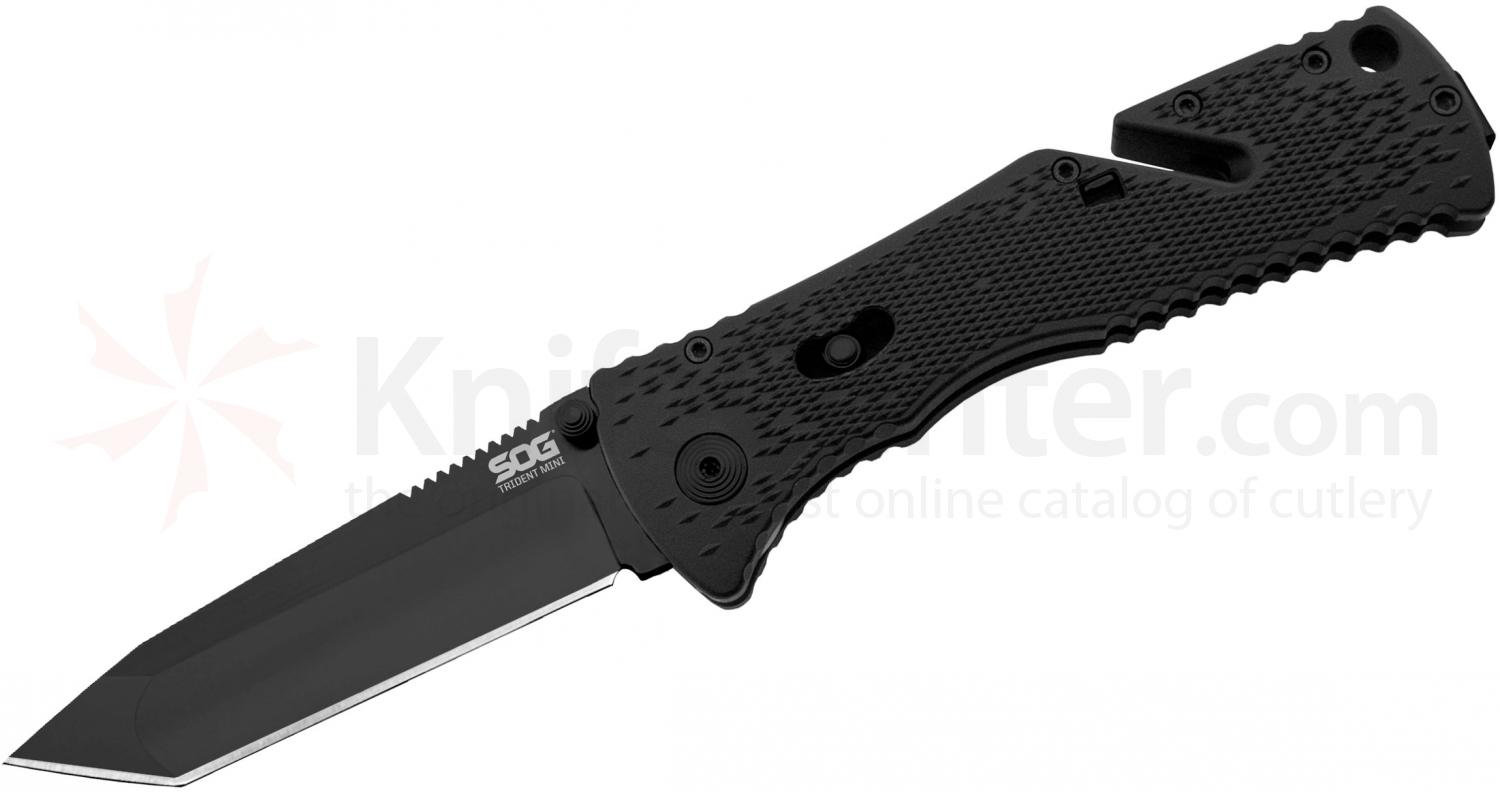 SOG TF27 Trident Mini Folding Knife Assisted 3.15 inch Black Plain Tanto Blade, Black GRN Handles