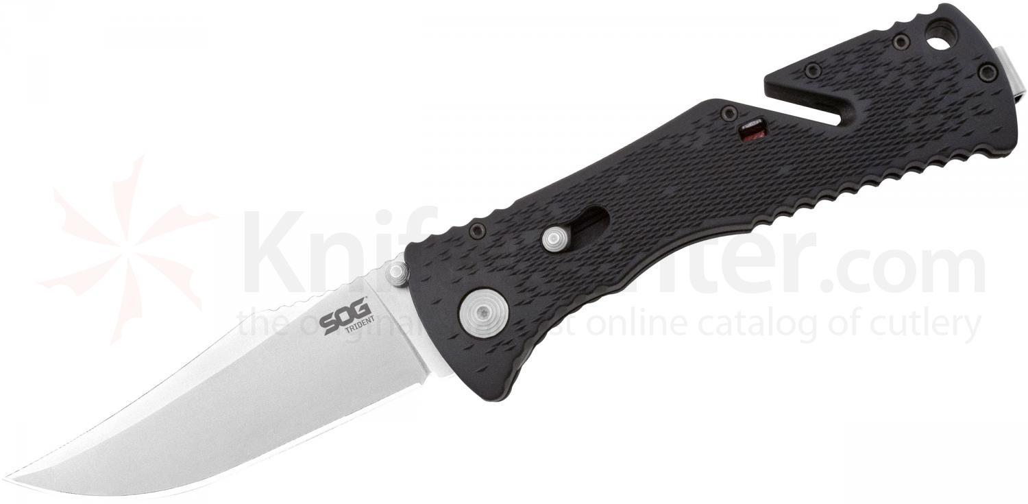 SOG TF2 Trident Folding Knife 3.75 inch Satin Plain Blade, Black GRN Handles