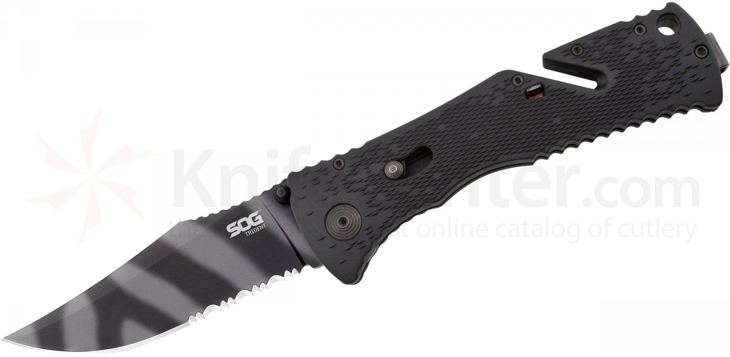 SOG TF3 Trident Folding Knife Assisted 3.75 inch Tigerstripe Combo Blade, Black GRN Handles