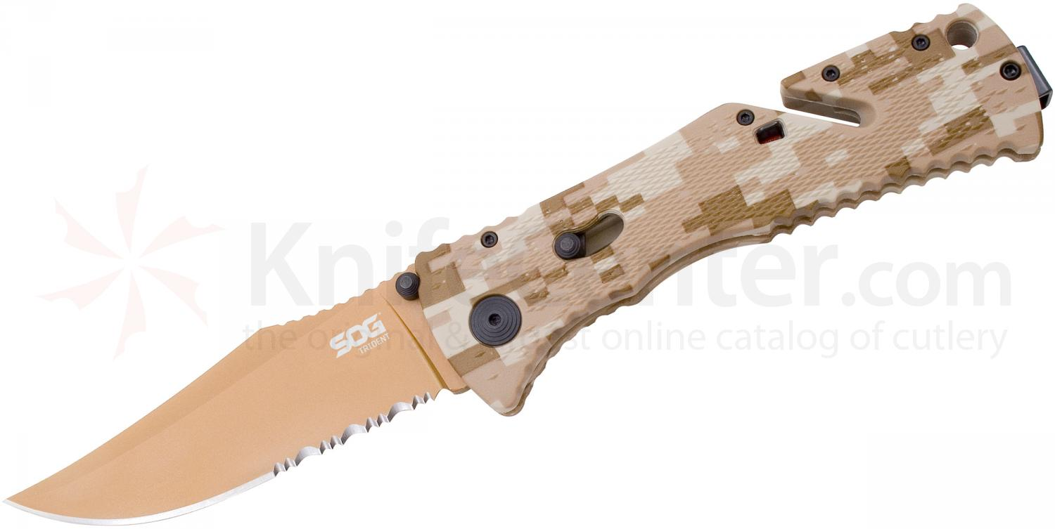SOG TF5 Trident Folding Knife Assisted 3.75 inch Copper TiNi Combo Blade, Desert Digital Camo Handles