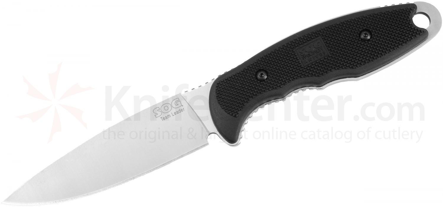 SOG TL03 Team Leader Fixed 5 inch Bead Blast Plain Blade, GRN Handles, Nylon Sheath