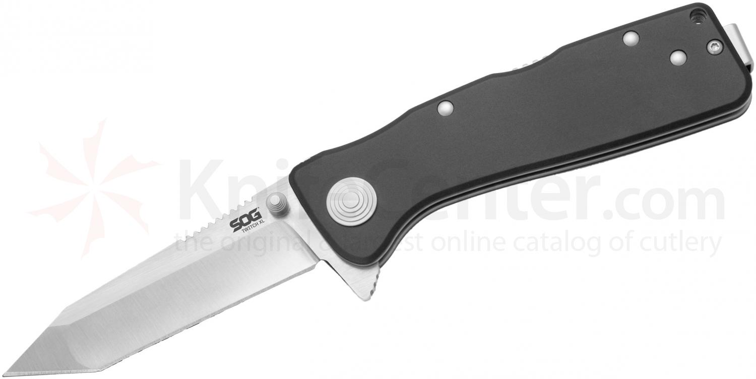 SOG TWI221 Twitch XL Folding Knife Assisted 3.25 inch Satin Plain Tanto Blade, Black Aluminum Handles