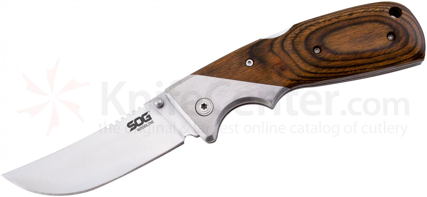 SOG WD-50 Woodline Folding Knife 3.4 inch Satin Plain Blade, Wood Handles