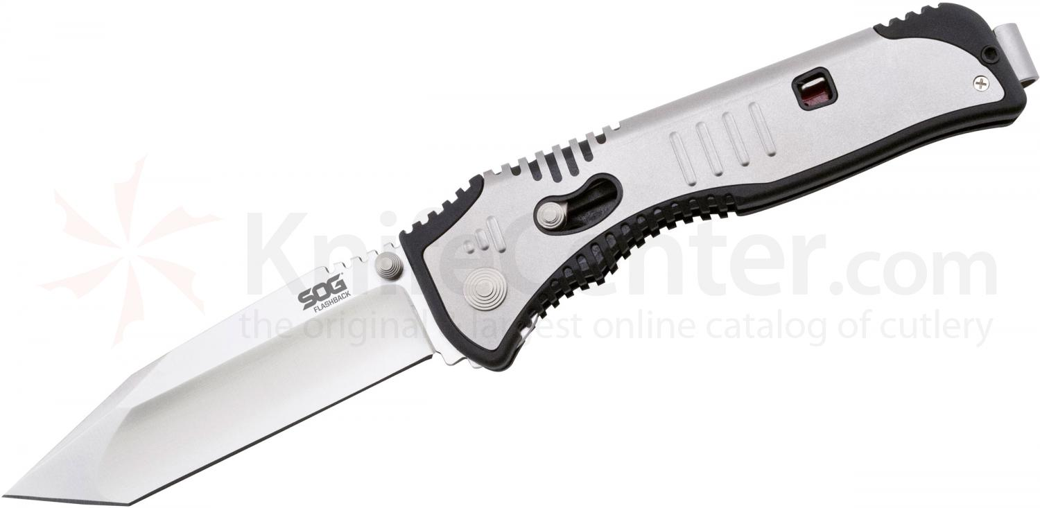 SOG Flashback Assisted 3.5 inch Satin Plain Tanto Blade, GRN and Stainless Steel Handles (SAT003)