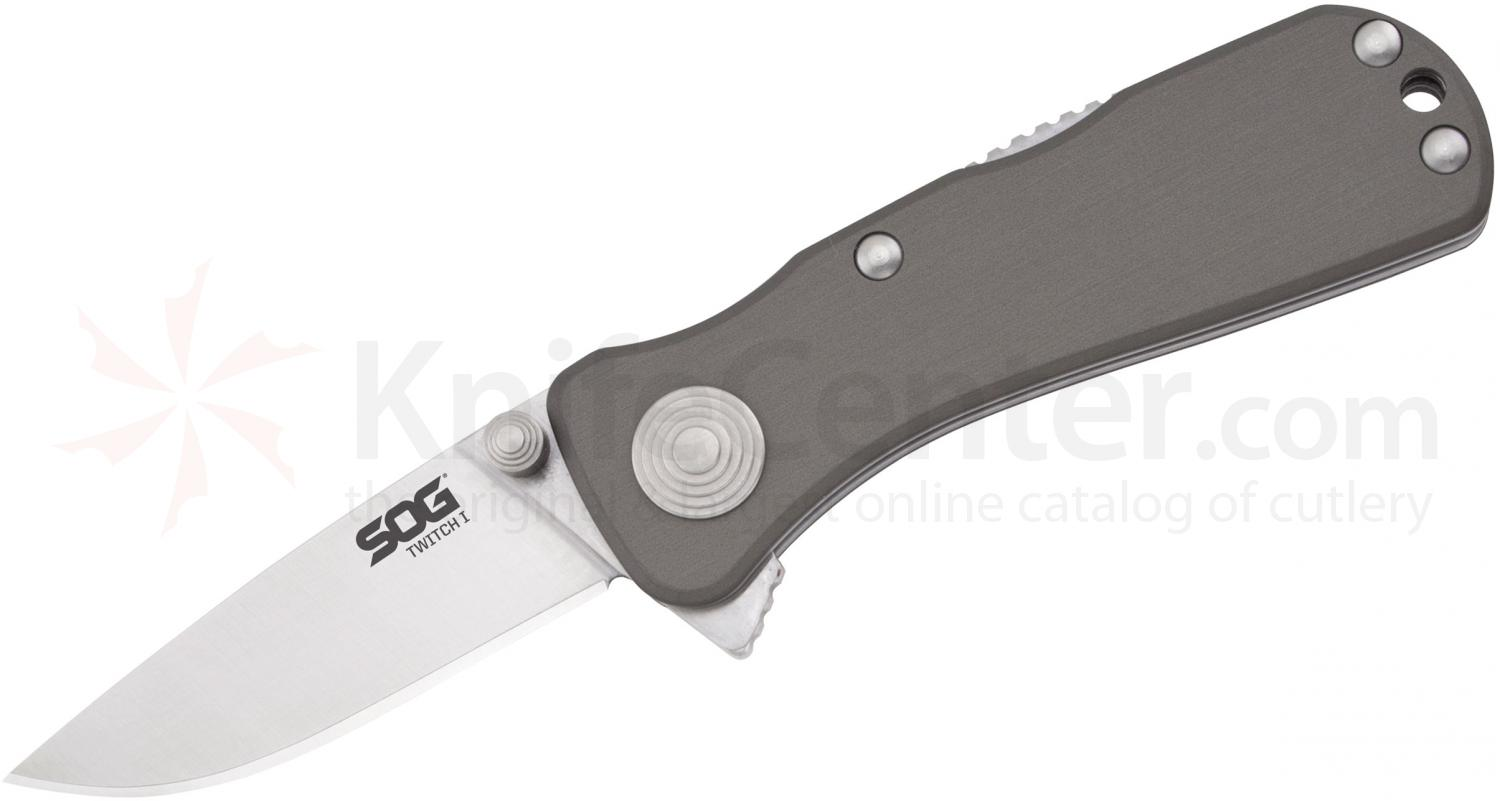SOG TWI7 Twitch I Folding Knife Assisted 2 inch Satin Plain Blade, Graphite Aluminum Handles