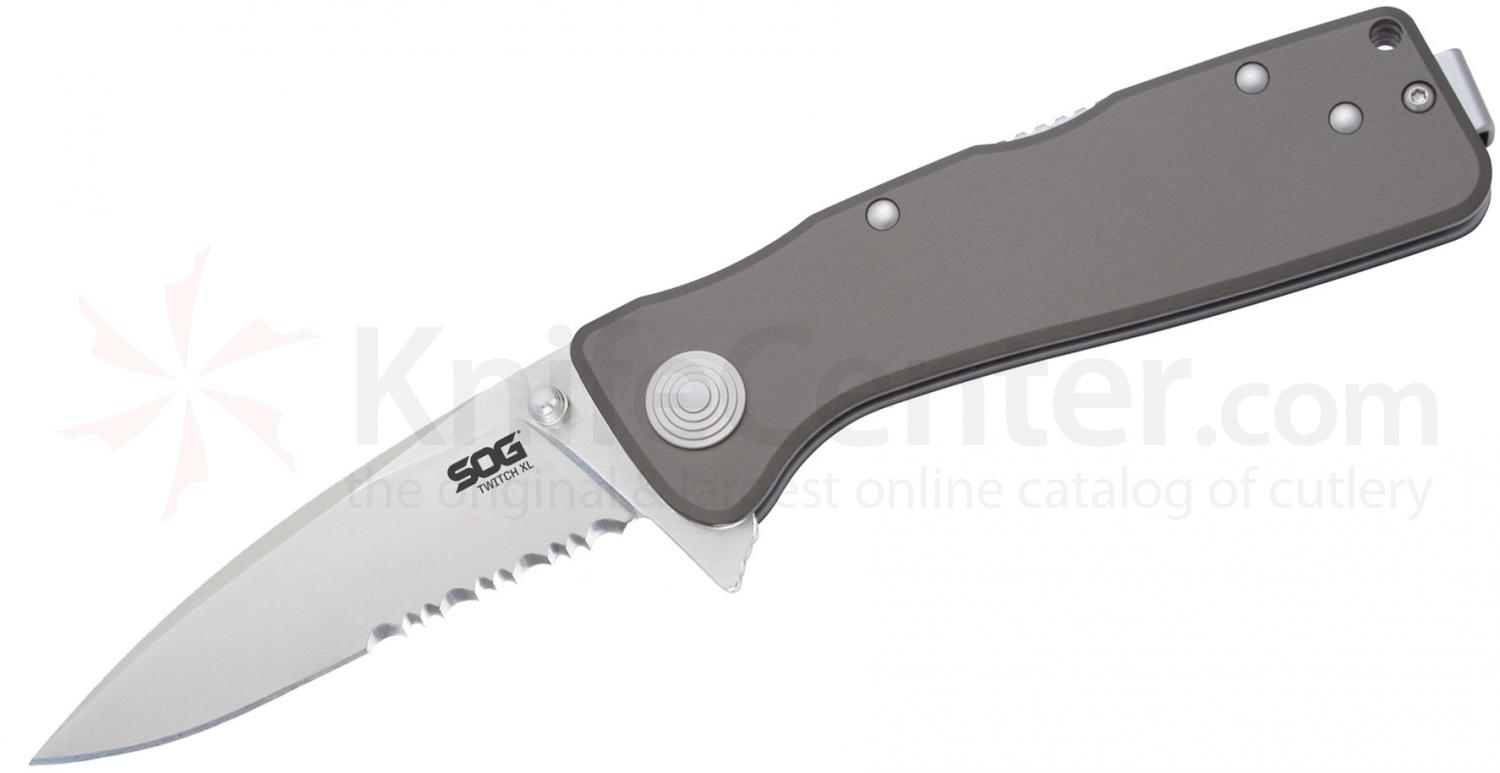 SOG TWI920 Twitch XL Folding Knife Assisted 3.25 inch Satin Combo Blade, Graphite Aluminum Handles